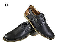Мокасины мужские натуральная кожа на шнуровке черные (СТ)