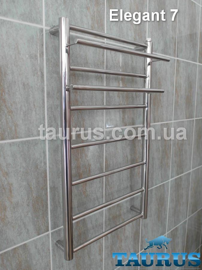 Практичний рушникосушка з нж сталі з 2 полицями Elegant 7 / висота 750. Прямі перемички d16. Ширина