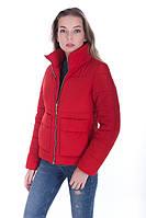 Молодёжная женская осенняя куртка размер плюс Лаура красный (42-52)