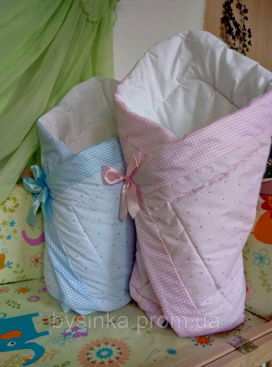 Конверт на выписку, одеяло на выписку, плед на липучке с красивым бантом (демисезонный), 90х90