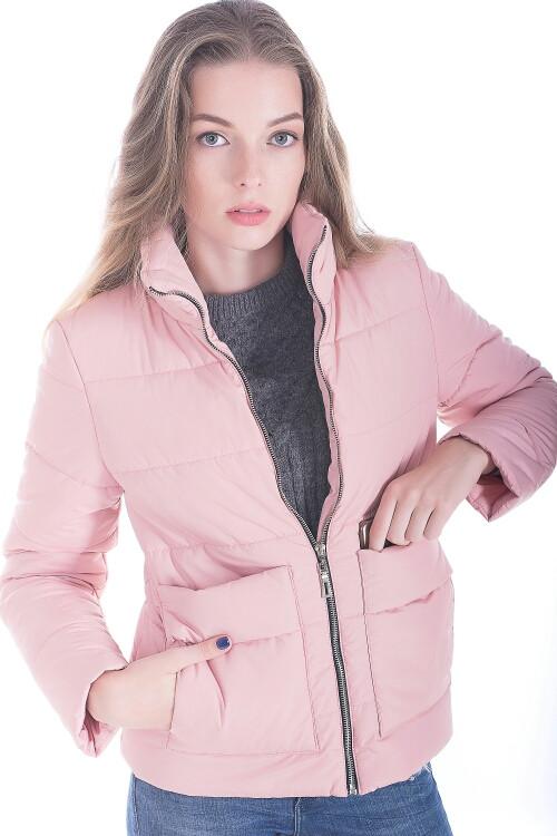 Стильная женская куртка размер плюс Лаура розовый (42-52)