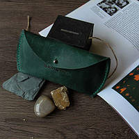 Кожаный футляр для очков Изумруд. Ручная работа, фото 1