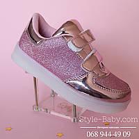 Розовые кроссовки с led подсветкой для девочки р.31,32,33
