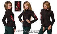 Рубашка женская классика черная с вышивкой ( 42 - 50 )
