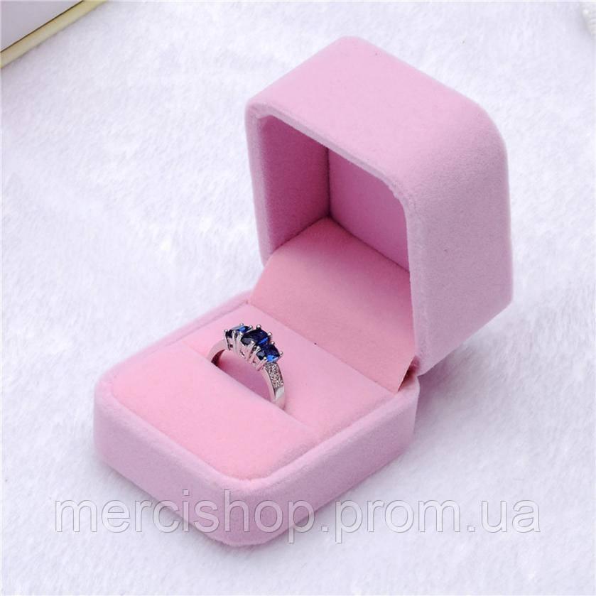 """Подарочная бархатная коробочка """"Шарм"""" для кольца/подвески/серьг и др. (розовая)"""