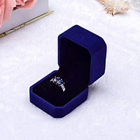 """Подарочная бархатная коробочка """"Шарм"""" для кольца/подвески/серьг и др. (синяя)"""