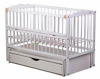 Кроватка детская Labona Мрия №4 на шарнирах, откидная боковина, ящик (белая)
