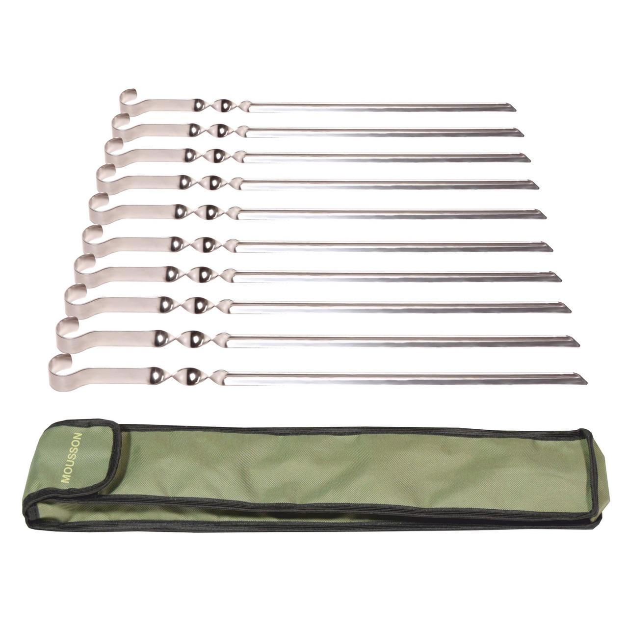 Набір сталевих шампурів 10 шт. в чохлі Mousson S4B10
