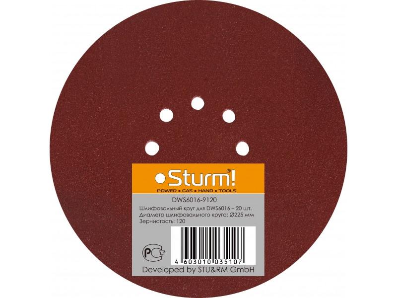 DWS6016-9120 шлифбумага круглая 225мм, зерно 120, 20шт Sturm