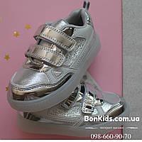 Серебряные кроссовки с Led подсветкой подошвы для девочки р.26,27,28,29,30