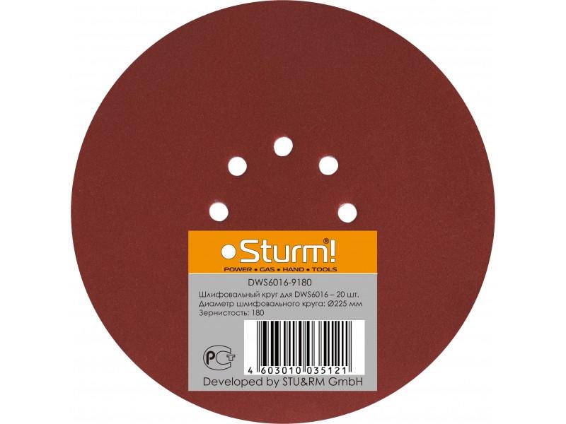 DWS6016-9180 шлифбумага круглая 225мм, зерно 180, 20шт Sturm
