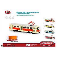 """Модель трамвай PLAY SMART """"Автопарк"""" метал.инерц.откр.дв.свет,зв.кор.19,5*5*8 ш.к."""