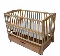 Кроватка детская Labona Мрия №4 на шарнирах, откидная боковина, ящик (натуральная)