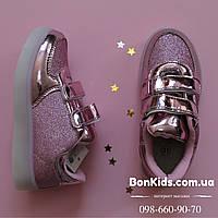 Кроссовки с led подсветкой мигалки для девочки розовые р.31,32,33