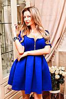 Женское пышное платье с неопрена девольте на змейке 5 цветов