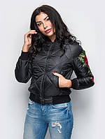 Куртка женская демисезонная Бомбер №37 (2 цвета), демисезонная женская куртка большого размера, фото 1