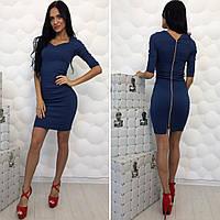 Женское классическое джинсовое платье с эффектом утяжки 5 цветов