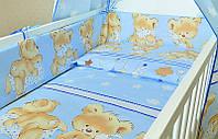 Защита,бортики, бампер, охранка, защитное ограждение в кроватку детскую-Мишки с подушкой