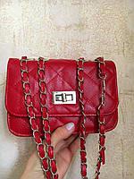 Женская сумка клатч через плечо Шанель mini Уценка красная