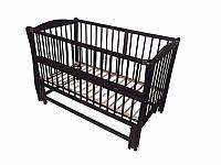 Кроватка детская Labona Элит № 10 на шарнирах с подшипником и откидной боковиной, резьба (венге)