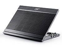 #117157 - Подставка для ноутбука до 17' DeepCool N9, Black, 18 см вентилятор (контроль оборотов, 16/20 dB, 600/1000 rpm), алюминевая панель, 4xUSB