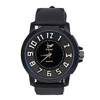 Мужские часы Объемные цифры силиконовый ремешок черные mw17