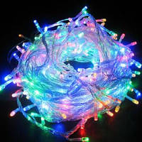 Гирлянда светодиодная 100 led мульти (белый провод)
