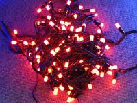 Гирлянда светодиодная 100 led Красная (черный провод)