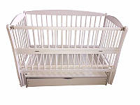Детская кровать Элит № 10  на шарнирах  с подшипником, откидная боковина, ящик (белая).