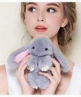 Брелок меховой Кролик Серый светлый (натуральный мех)