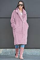 Женская стильная яркая меховая шуба