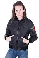 Молодёжный женский бомбер Элисон  черный (42-52)