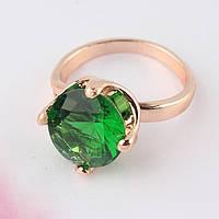 Кольцо с зеленым камнем р.18
