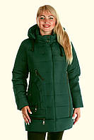 """Модная зимняя женская куртка с капюшоном. """"Малахит"""""""