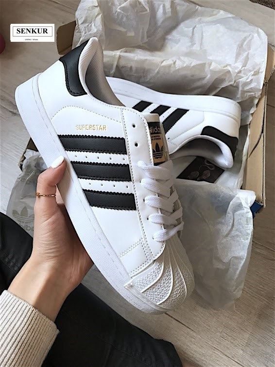 Кроссовки Adidas Superstar White & Black Gold (реплика)