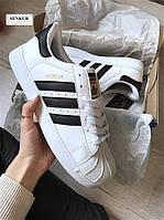 Кроссовки Adidas Superstar White & Black Gold (реплика), фото 1