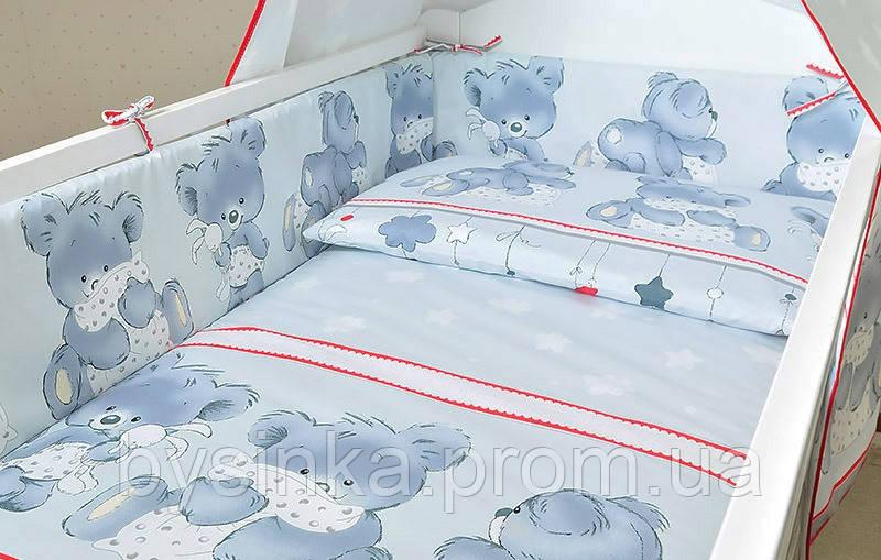 """Защита в кроватку (35 см) со съёмными чехлами (на молнии) на  все стороны детской кровати- """"Мишка с подушкой"""
