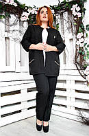 Классический брючный костюм батал Манго черный