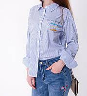 Стильная блузка в полосочку с вышивкой