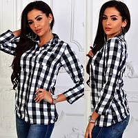 Женская рубашка клетка   № 021