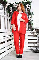 Яркий брючный костюм батал Манго красный