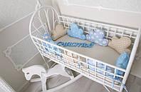 Бортики в кроватку + простынь Голубые Тучки , 9шт