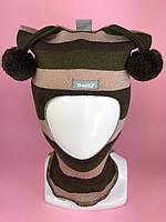 Детская зимняя шапка-шлем для мальчика Бэтмэн 1406 кофе-олива-светлый фрез
