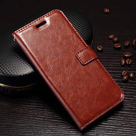 Чехол книжка для OnePlus 5 A5000 боковой с отсеком для визиток, Гладкая кожа, коричневый