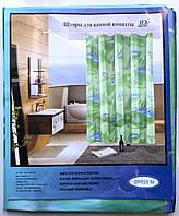 """Шторка для ванной """"Атлас"""" зелёный/дельфин"""