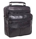 Кожаная сумка мужская через плечо вместительная барсетка из натуральной кожи s2014 кожа черная 24х22х10см, фото 2