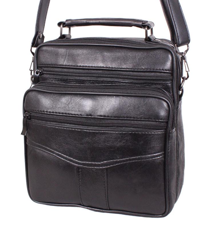 738d0bfeda98 Кожаная мужская сумка SW2014 черная барсетка через плечо 24х22х10см ...