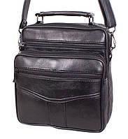 Кожаная сумка мужская через плечо вместительная барсетка из натуральной кожи s2014 кожа черная 24х22х10см