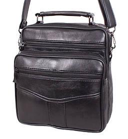 Кожаная сумка мужская через плечо вместительная барсетка из кожи 24х22х10 8s2014 кожа черная Польша