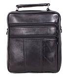 Кожаная сумка мужская через плечо вместительная барсетка из натуральной кожи s2014 кожа черная 24х22х10см, фото 4